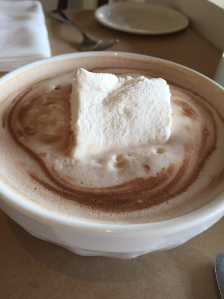 """Mayfield Bakery & Cafe (Palo Alto, CA).  """"Their hot chocolate is quite possibly the best I've had in the Palo Alto. It's creamy with a decadent homemade marshmallow pillow. So good."""""""