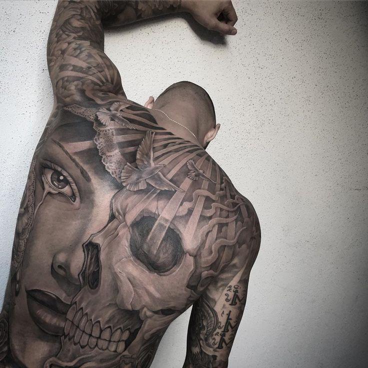 Skull portrait mens full back piece best tattoo ideas for Best back tattoos