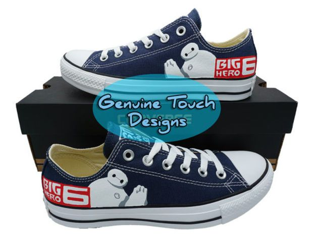 Custom Converse, Big Hero 6, Baymax, fanart shoes, Custom