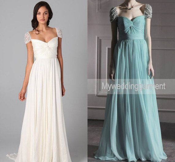 Handmade Floor Length Cap Sleeve Sweetheart Wedding Dress Gown Bridal Party
