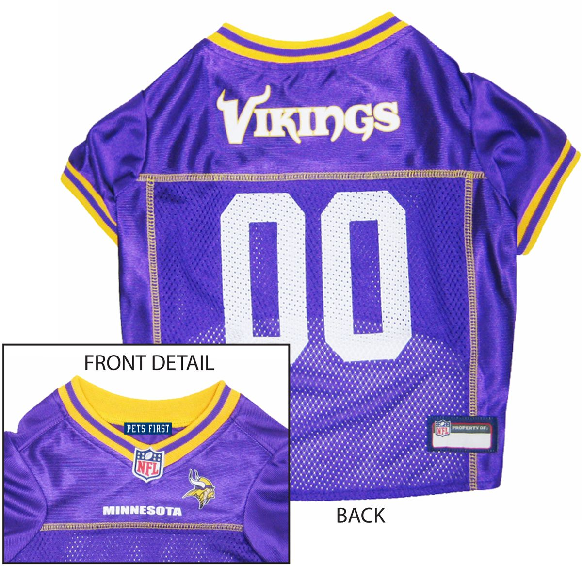 Let your dog show there team pride with this officially licensed Minnesota  Vikings Dog Jersey - Yellow Trim. This awesome dog jersey is made of  polyester m 679e99158