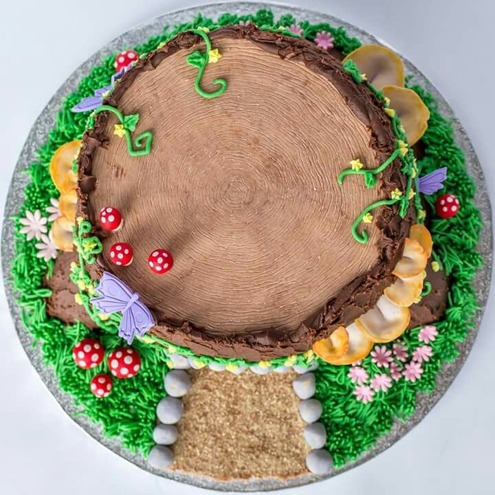 Fairy garden tree stump house cake | Fairy garden cake ...