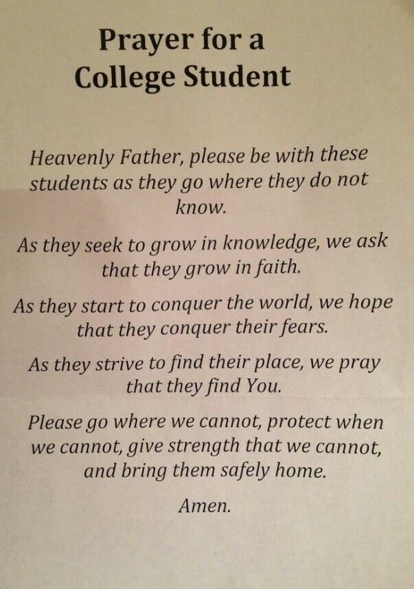 Prayer for a college student