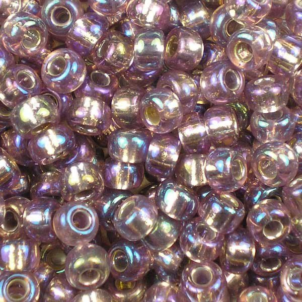 50 g Rocailles Seed Beads 11//0 Czech Glass Transparent Purple Rainbow