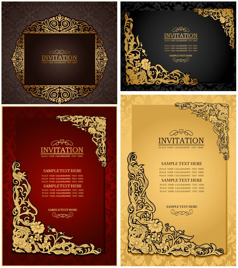 Classic Ornate Wedding Invitations Vector Contoh Undangan