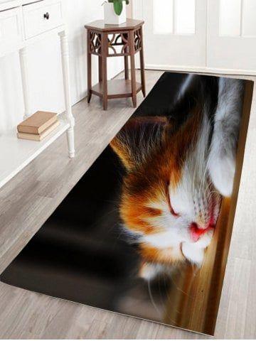 Sleeping Cat Print Flannel Skid Resistant athroom Rug Circle Rug, Cat Pattern, Bathroom Carpet