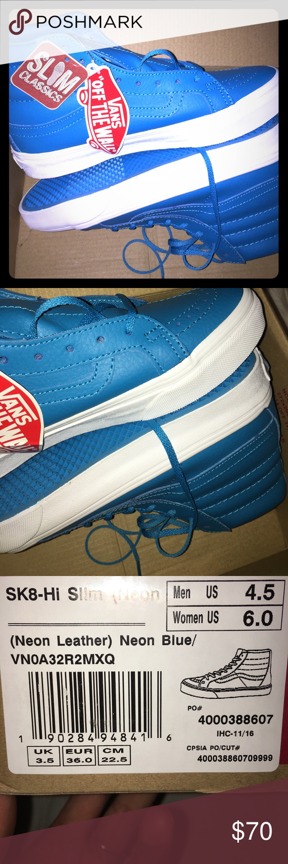 41208089be5e5e Sk8-hi slim leather neon blue Brand new hi top skate shoes. Neon leather