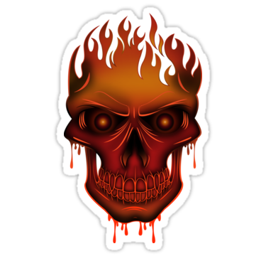 Flame skull sticker by adam santana