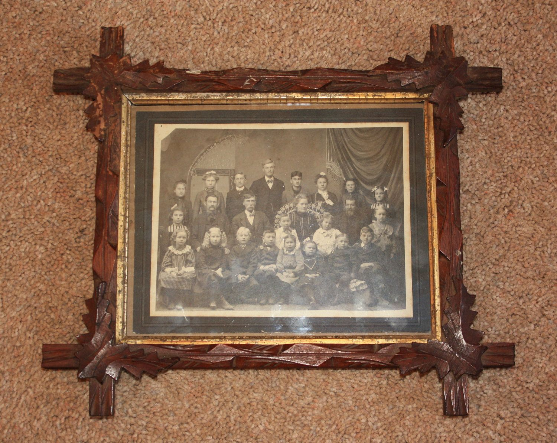 antique folk art tramp art frame wold picture wood primitive 1800s hand carved