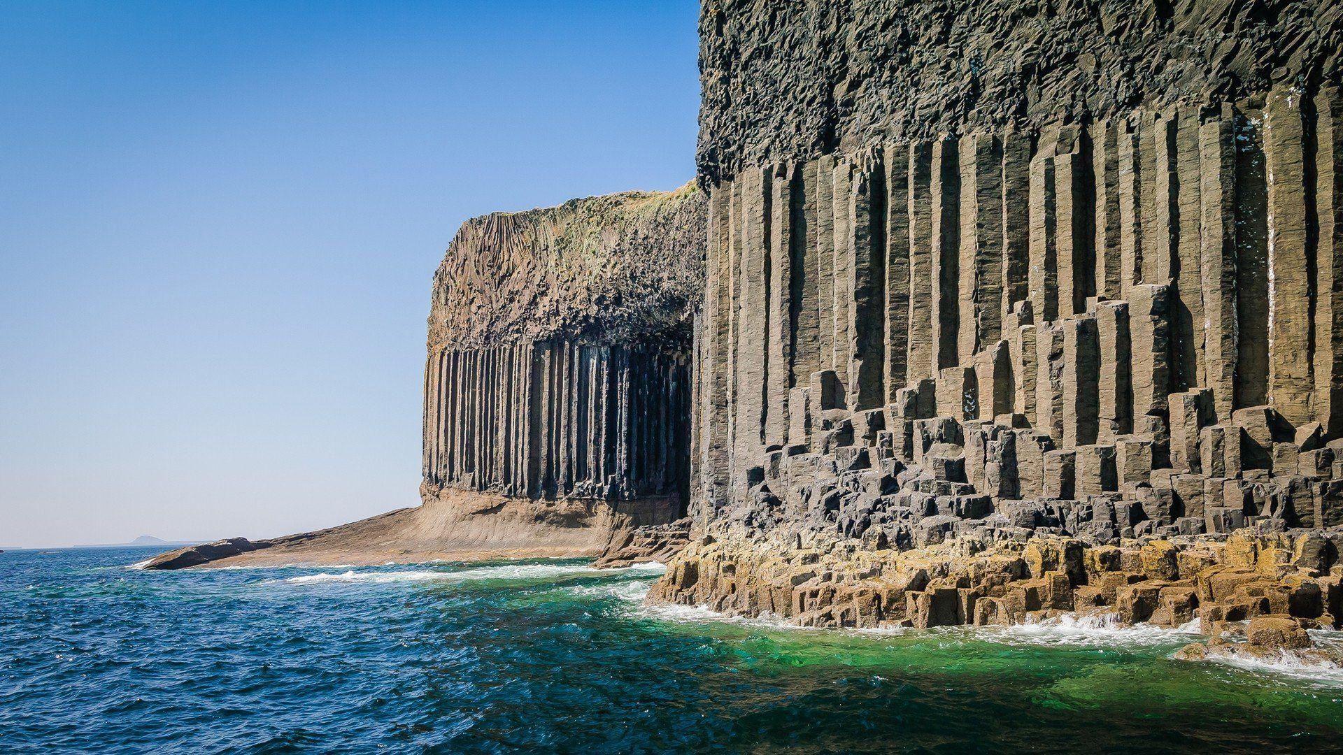 Cliffs Colunas Ilhas Paisagens Natureza Oceano Rochas Escócia Mar Desabitada Água