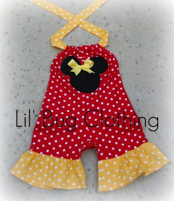 $30 Custom Boutique Clothing Red and Yellow Minnie Mouse Shortall