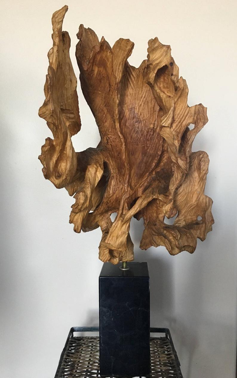 Mid Century Wood Sculpture Balanced On Brass And Marble Base Etsy Wood Sculpture Wood Sculpture Art Driftwood Sculpture