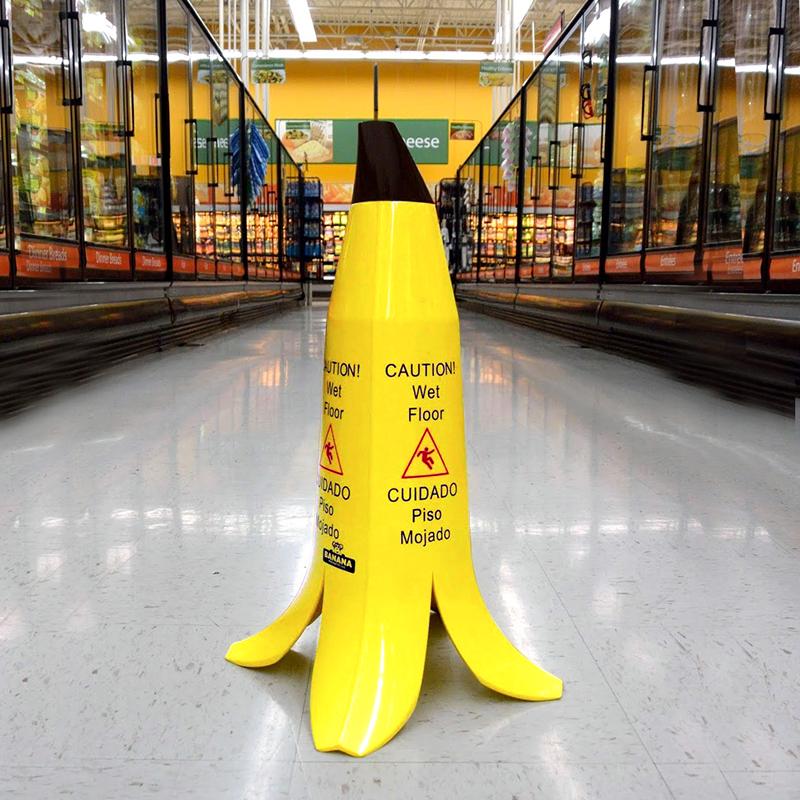 Wet Floor Caution Cone That Looks Like A Banana Peel Wet Floor Signs Point Of Sale Display Wet Floor