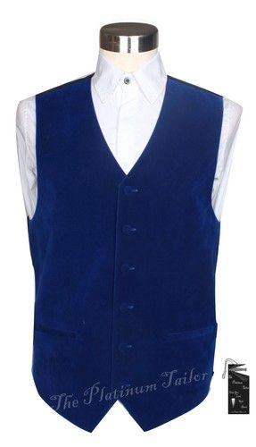 Mens Classic Formal Royal Blue Velvet Waistcoat Premium Quality Size 3XL