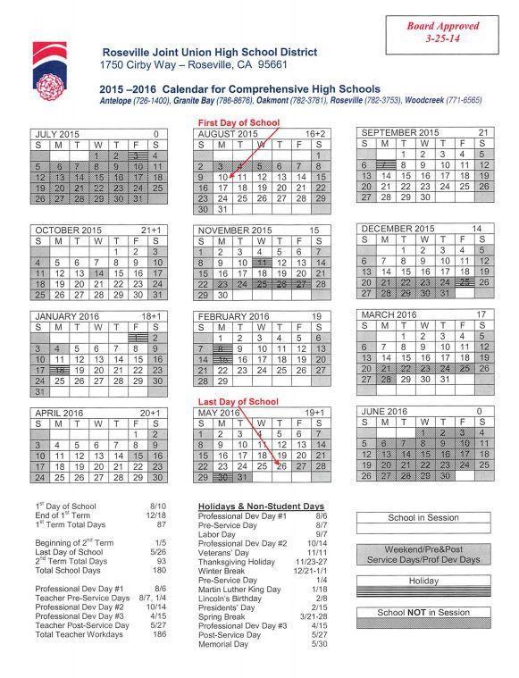 2015 2016 School Calendar For Roseville Ca Joint Union High School
