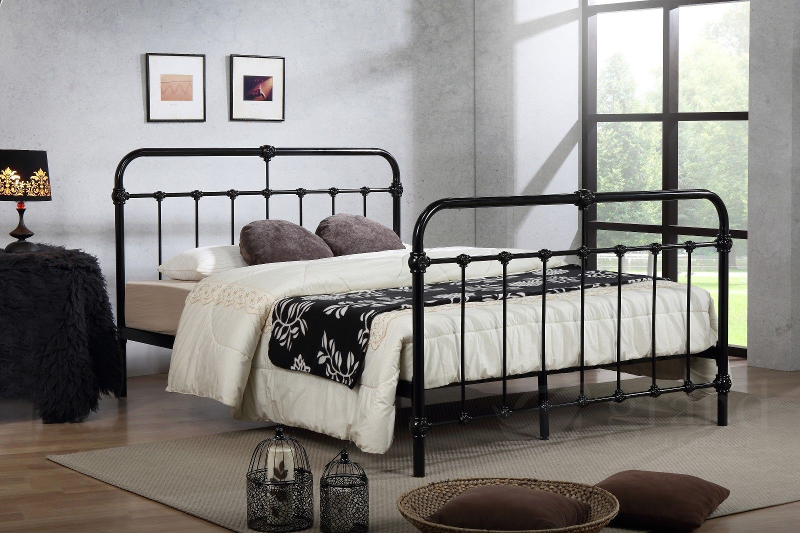 Best Details About Mandy Double Metal Bed Frame Black Hospital 640 x 480