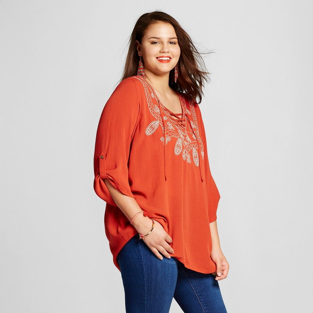 Women's Plus Size Embroidered Lace Up Top Dark Red 1X - 3Hearts (Juniors'), Size: 1XL