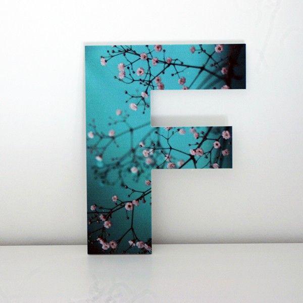 letras decorativas con frontal impreso letra f con imagen de ramas y flores de rbol