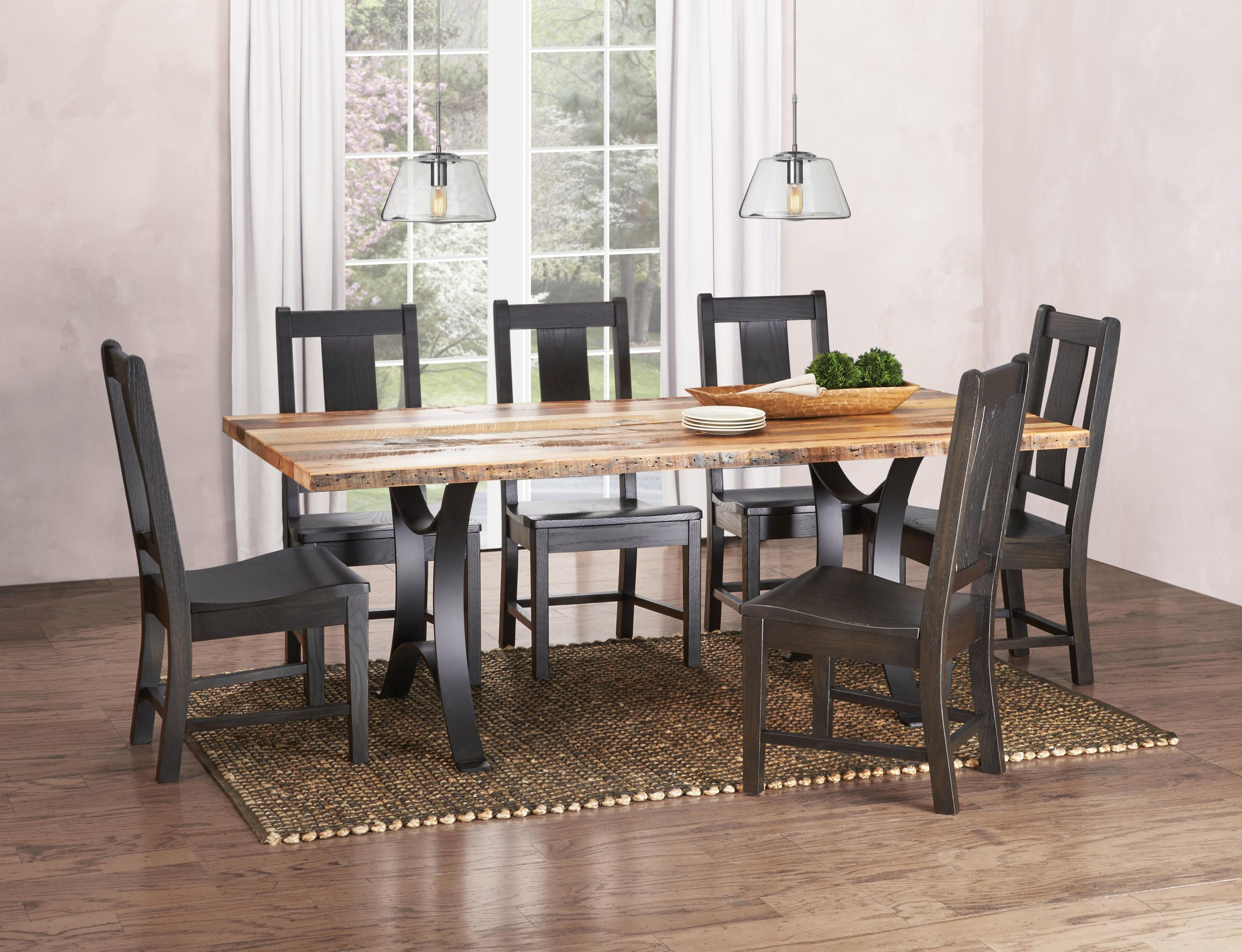 Reclaimed Barn Wood From Michigan Left In Its Natural Finish Paired With Bent Steel And Beautiful WoodTable LegsOak ChairsDining