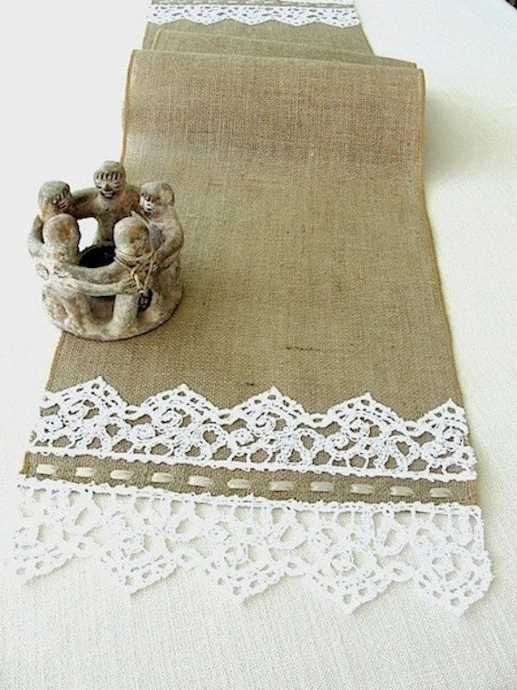 Beautiful decoration for your rustic wedding table.Made of natural color burlap and decorated on both ends with a unique ,vintage style, snow white cotton lace.  The burlap edges of the runner are embroidered with color coordinated thread. Unique table setting for your country wedding,bridal shower or other occasion you might have.  One of a kind gift for a rustic wedding.    Size : 74 inches long   14 inches wide  Care: Spot clean recommended Customizable in size to accommodate your…