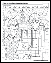 Famous Paintings Coloring Famous Art Coloring American Gothic Color By Numbers