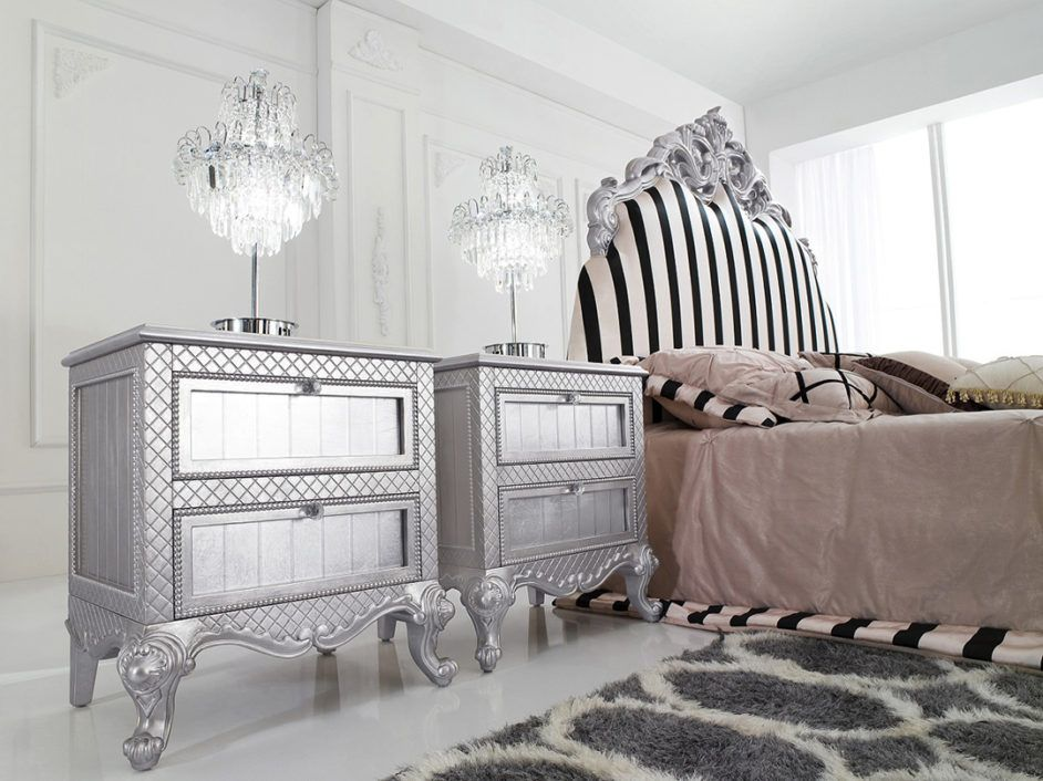 Exquisite Two Modern Silver Nightstand Table With Fancy Crystal Table Lamps And Black White Stripes Modern Nightstand Contemporary Nightstand Silver Nightstand