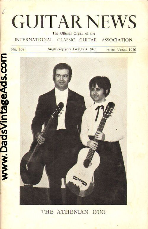 1970 April/June Guitar News Magazine Back-Issue - The Athenian Duo - Evangelos Assimakopoulos and Liza Zoe