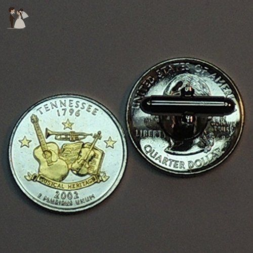 Tennessee Statehood Quarter - Gorgeous 2-Toned Gold on Silver Coin, Cufflinks - Groom cufflinks and tie clips (*Amazon Partner-Link)