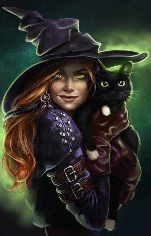 Картинки фэнтези ведьмы и коты