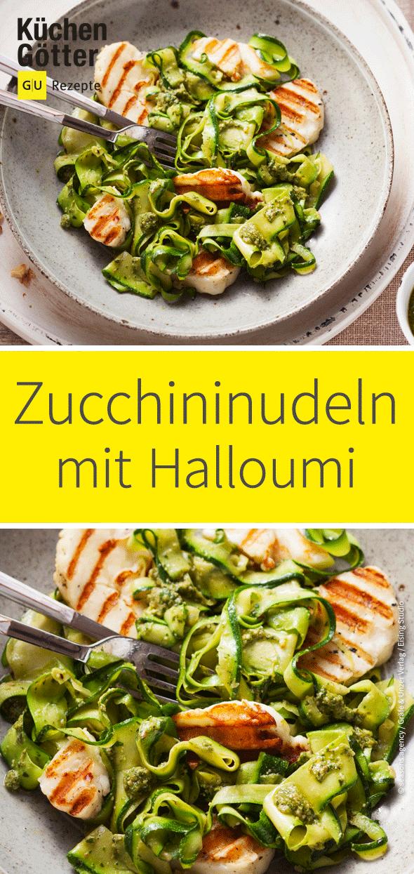 Halloumi mit Zucchini-Pesto-Nudeln #zucchininoodles