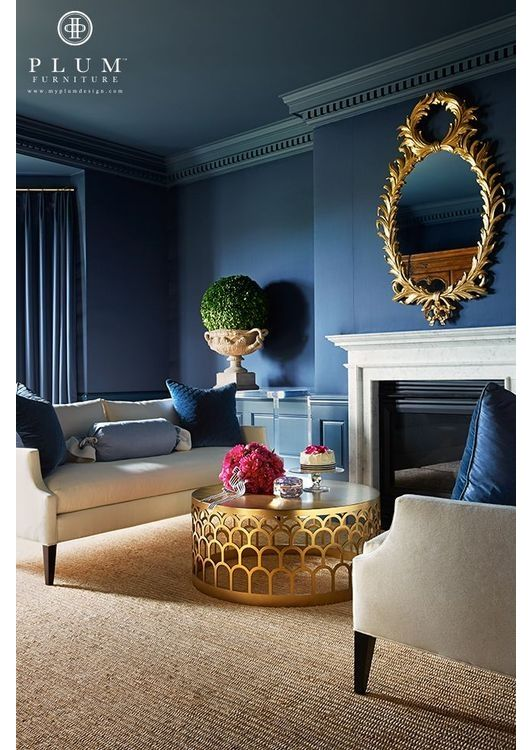 Navy And Gold Work Incredibly Well Together Blue Rooms Blue Living Room Living Room Designs