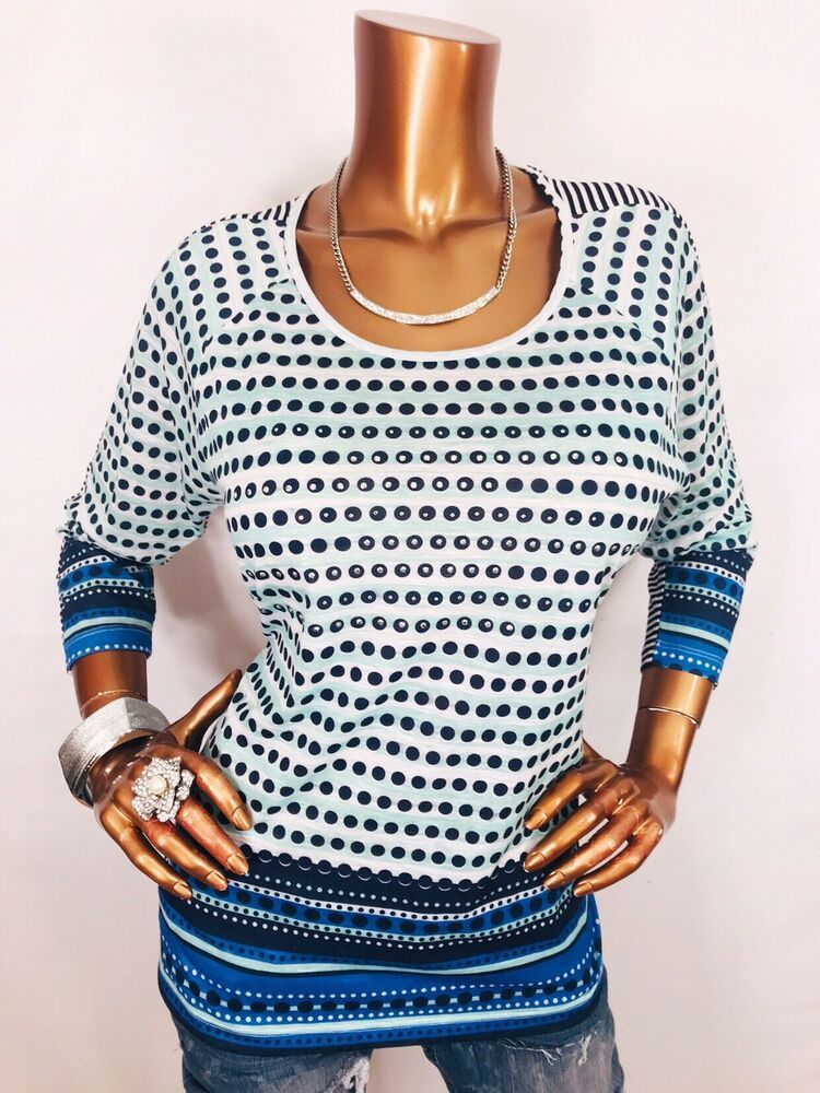 d4d984a136c Christopher   Banks M Top NWT Stretch Gems Studs Polka Dots Striped Blouse  Shirt