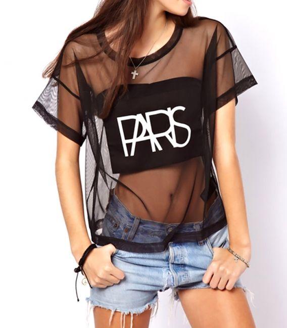 "T-shirt semi-trasparent ""Paris"""