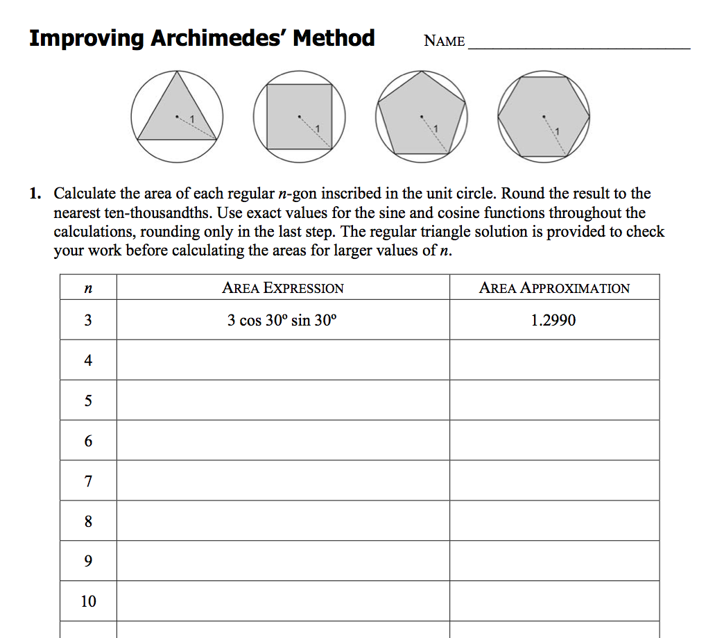 Uncategorized Pi Day Worksheets worksheet archimedes method for calculating pi pinterest pi