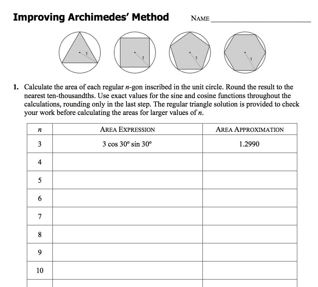 Worksheet Archimedes 39 Method For Calculating Pi Pi