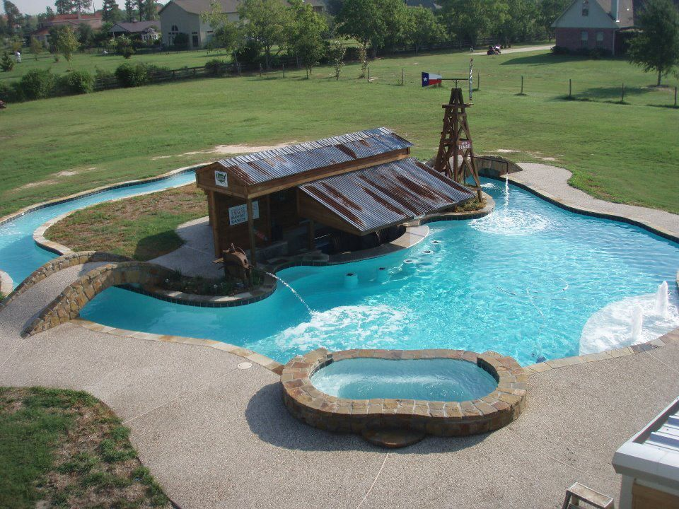 Aquatime Pools Cypress Texas 300 000 Bar Lazy River Hot Tub Swimming Pool Designs Pool Designs Swimming Pools
