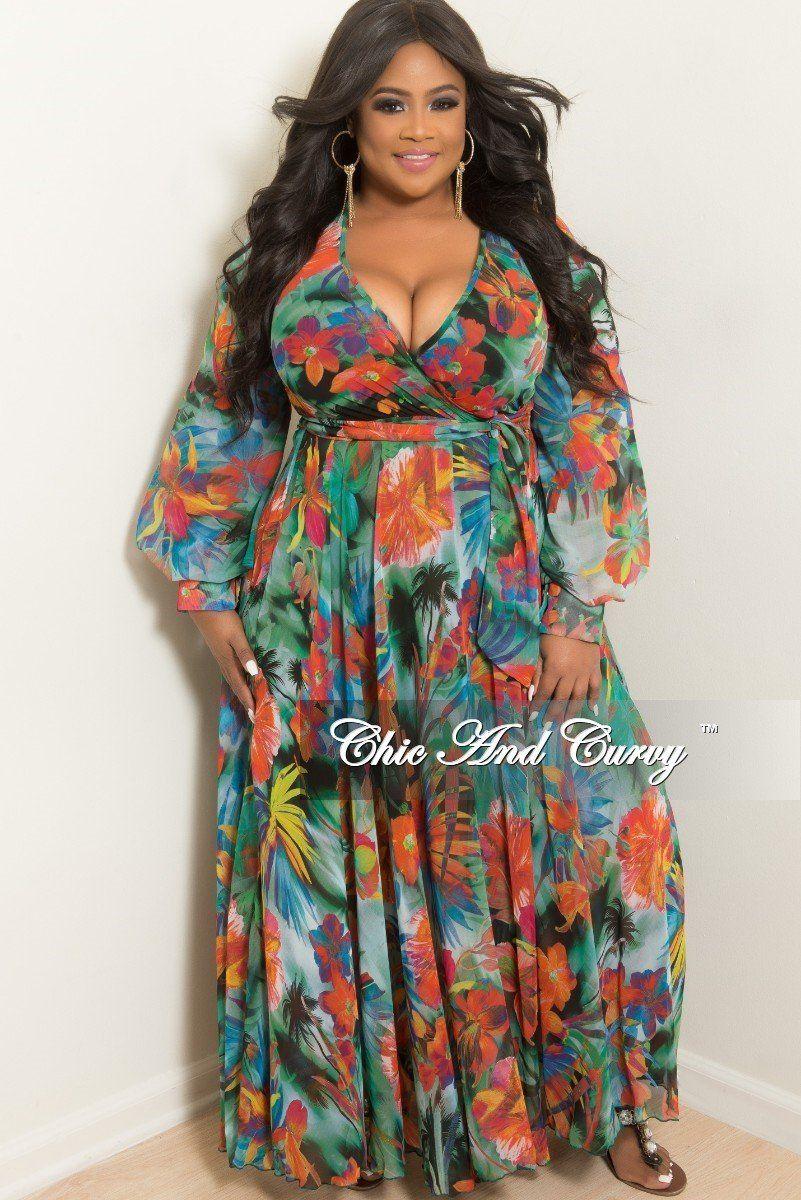 092d9ca9d6ed8 Final Sale Plus Size Faux Wrap Long Chiffon Dress in Green Floral ...