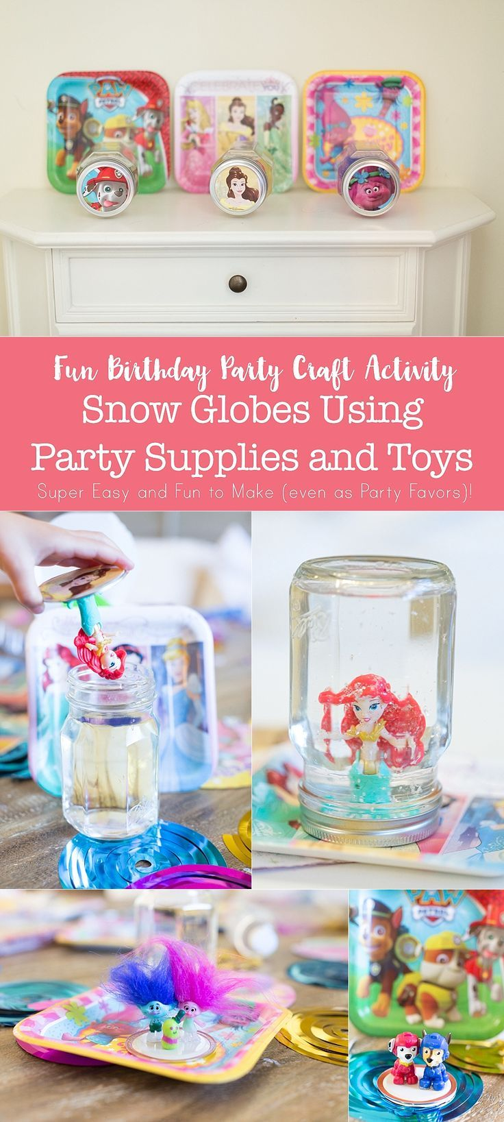 Snow Globe Party Favors Using Empty Jars | Globe, Favors and Empty