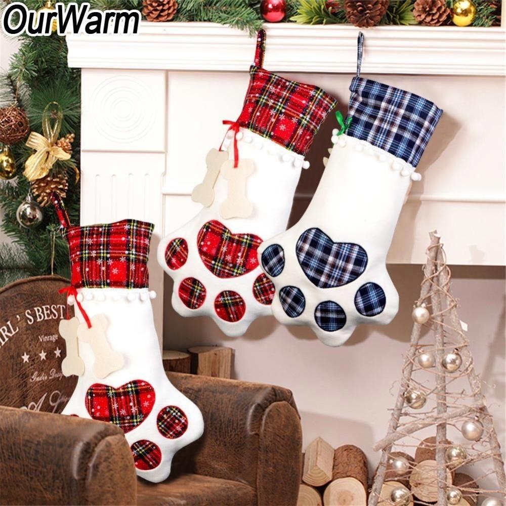 Large Plaid Christmas New Year Gift Stocking Christmas Tree Fire Place Hangin Christmas Stocking Gifts Hanging Christmas Stockings Dog Christmas Stocking