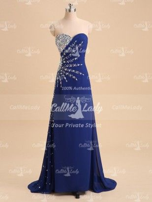 8e387d63d330 Royal blue beaded long prom dresses with rhinestones