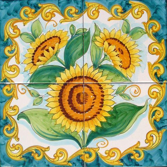 Kitchen Backsplash Mural, Sunflower Painting, Sunflower Mural, Wall ...