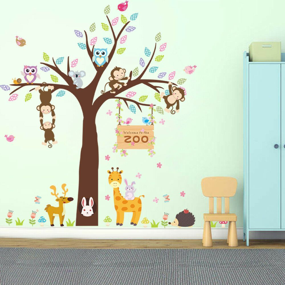 Fa Cartoon Animal Tree Monkey Owl Wall Sticker Decal Kindergarten