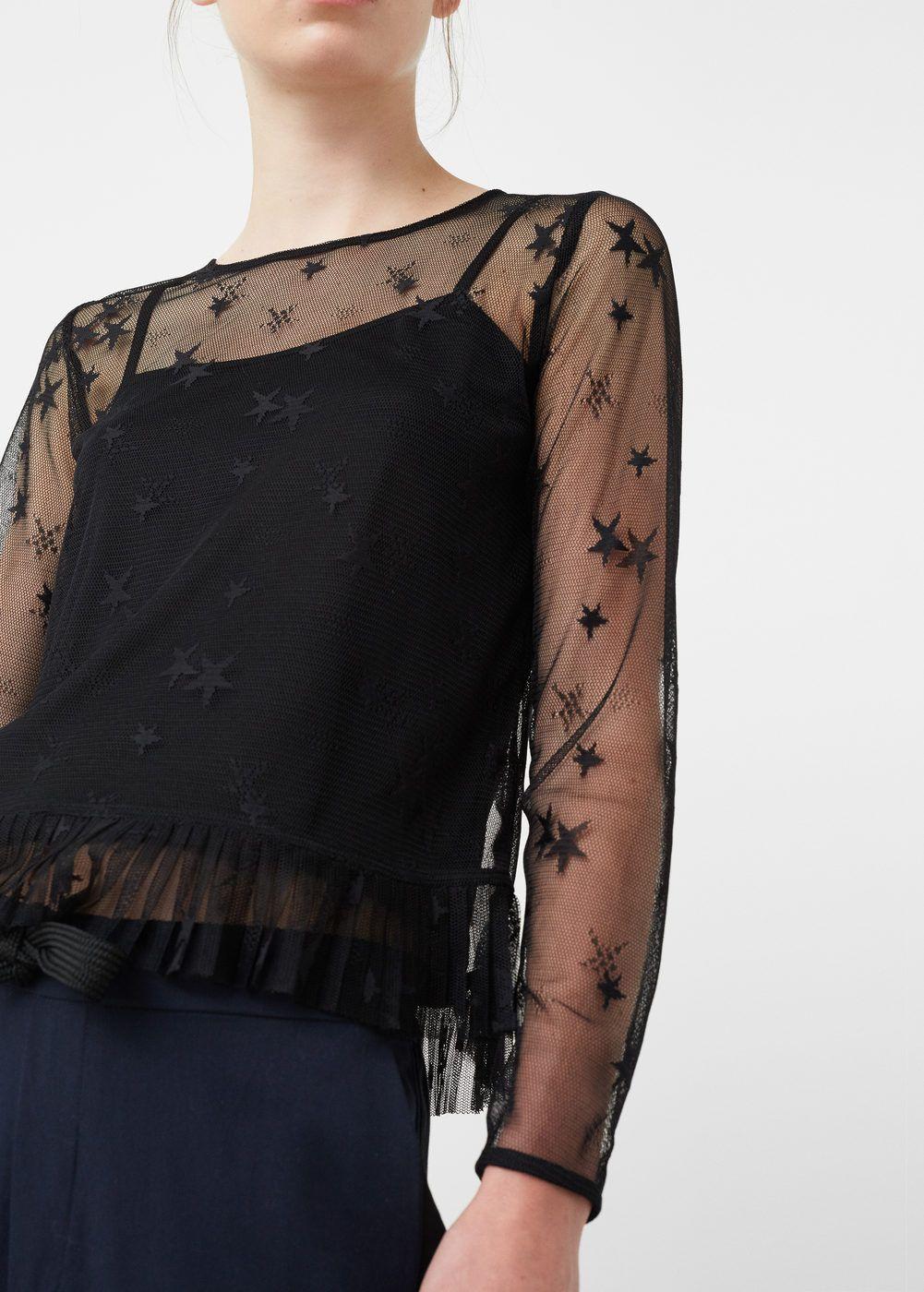 Blusa tule bordado - Mulher  4eb65035da3