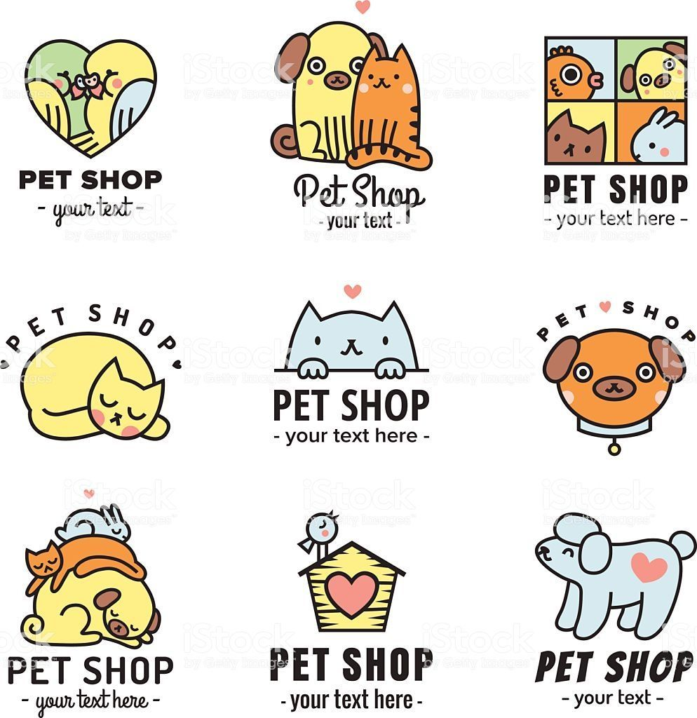 Pet Shop Cute Logos Black Vector Set Can Be Used As Stickers In