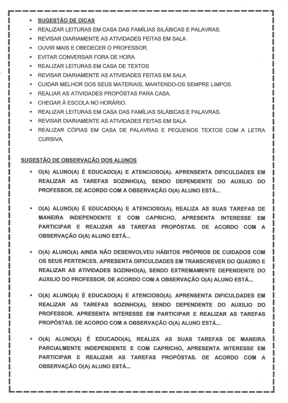 Mundo Do Professor Ficha De Observacao Individual Relatorios