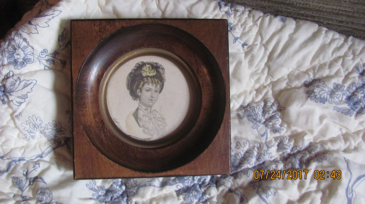Vtg Deep Well Style Small Wood Framed Prim Proper Victorian Lady Portrait Print Gold Lined Tab Top Picture Frame by treasuretrovemarket on Etsy