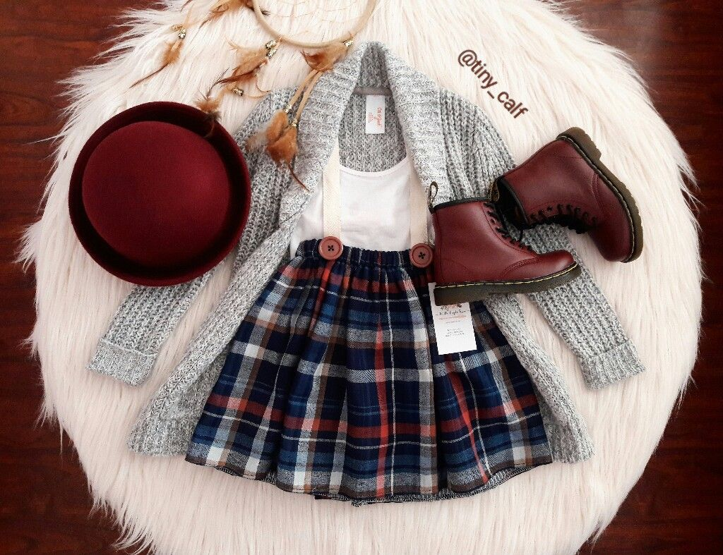 dc1fd31bf89c45 Baby/ toddler fall fashion outfits. Baby / toddler winter fashion outfits.  Suspender skirt by Little People Rocx. Cat & Jack cardigan by Target.