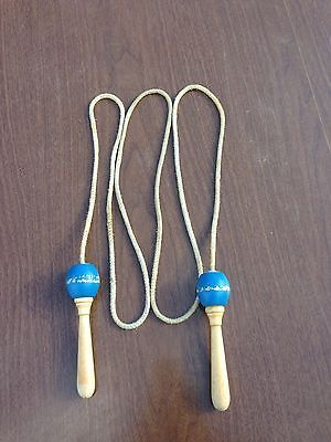 Vintage-Blue-Jump-Rope-Wooden-Handles-wood-ball-bearings-Boxing-Gym