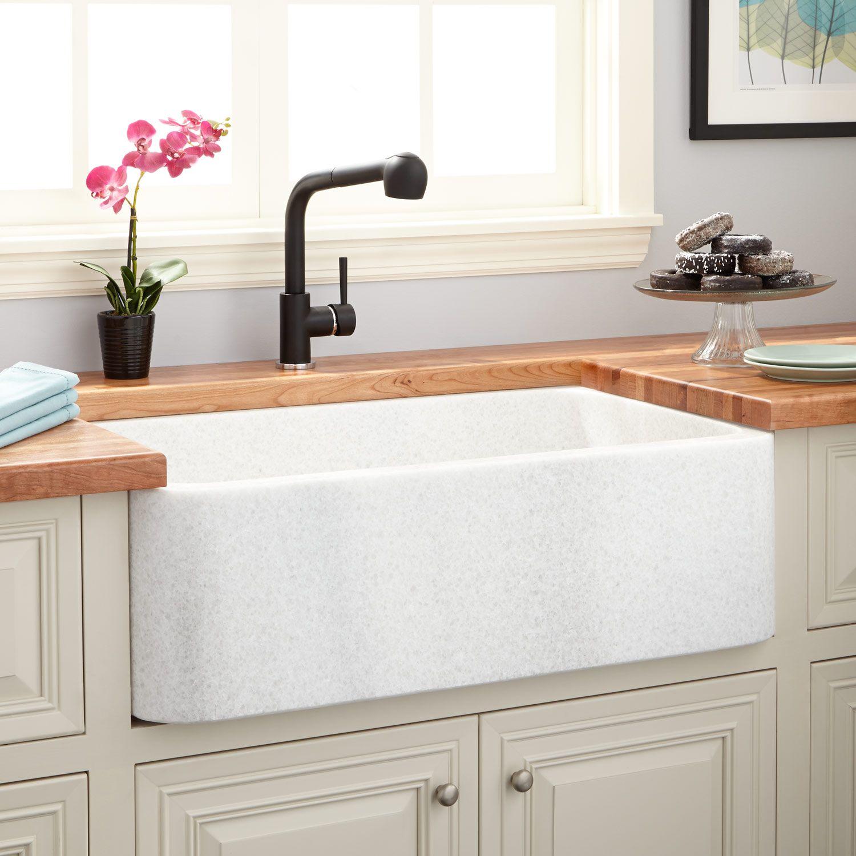 33 polished marble farmhouse sink in white thassos
