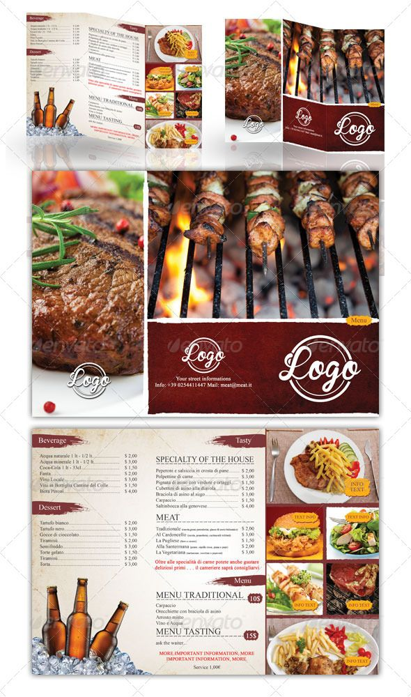 simple grill trifold menu design business menu design menu